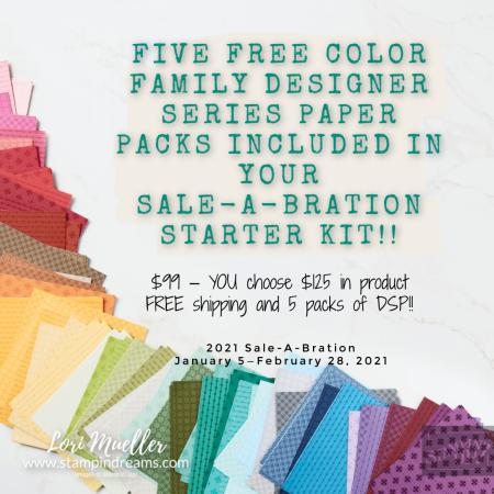SAB Starter Kit 2021-Free DSP-Lori Mueller Stampin Dreams